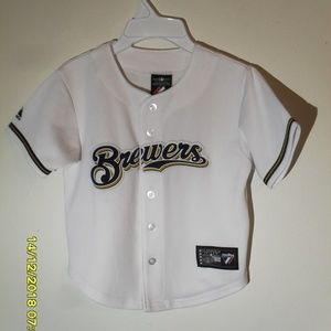 BOY'S BREWERS BASEBALL JERSEY SIZE MED 5/6